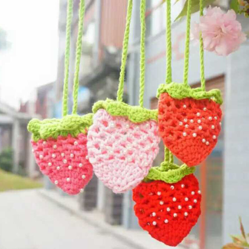 Selfless Yarn Hand Knitting Egg Bag Strawberry Pouch Egg Pocket Childrens Day Gifts Finished Product Hand-made Finished Pearl T4 Electronic Components & Supplies