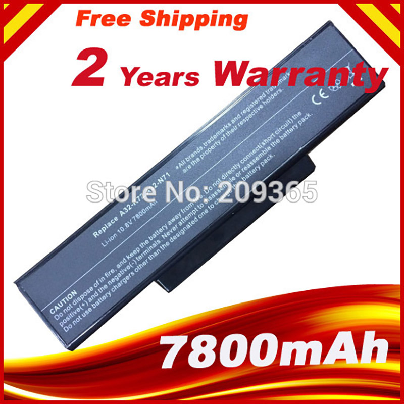 7800 mah batteries a32 k72 a32 n71 pour asus n71j, N71JA, N71JQ, N71JV, N71V, N71VN, N71YI, N73, N73JF, N73JG, N73JN