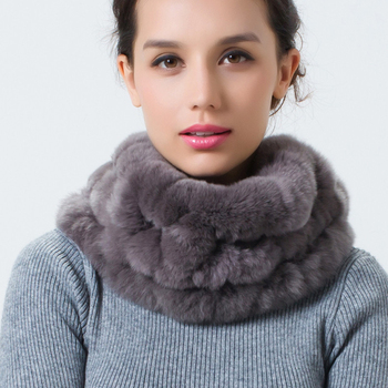 DL6106  Hot Sale Real Fur Scarf Winter Handmade Genuine Rex Rabbit Neck Scarves Female Ring Free Shipping