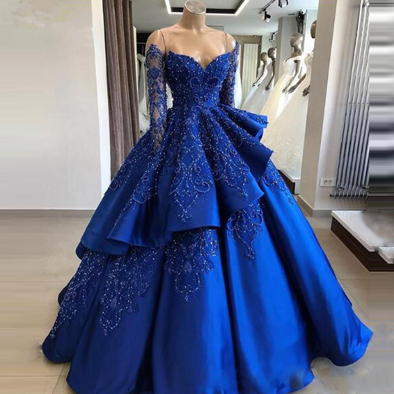 Vintage Royal Blue Lush   Prom     Dresses   Lace Applique Ball Gowns Shiny Sequins Off Shoulder   Prom   Gowns Ruffles Tiered   Prom     Dress