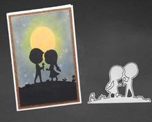Little boy and little girl mold metal cutting DIY scrapbook album decoration supplies clear seal paper card