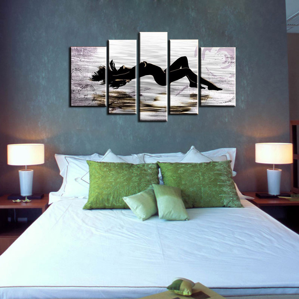 5-piece-large-abstract-canvas-wall-art-black-and-white-art-sex-Nude-picture-oil-painting