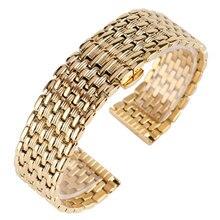 18mm 20mm 22mm pulseiras de relógio de ouro sólido cinta pulseira de aço inoxidável ajustável substituição moda pulseira + 2 barras mola
