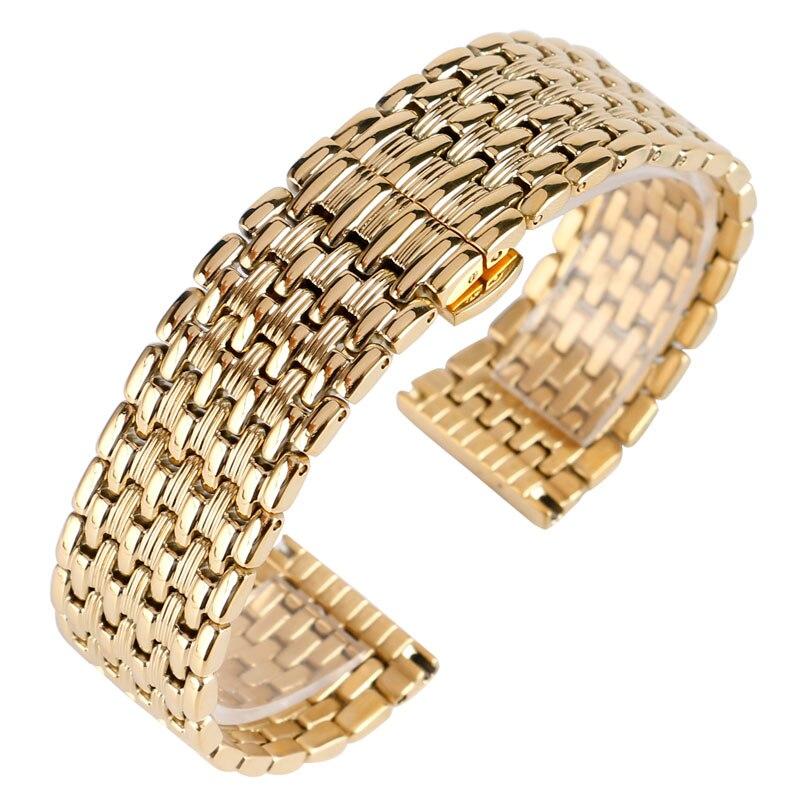18mm 20mm 22mm מוצק זהב שעון להקות רצועת השעון מתכוונן החלפת אופנה צמיד + 2 אביב בריםרצועות לשעוןשעונים -
