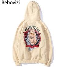 Bebovizi 2019 Autumn Mens Hip Hop Wear Hipster Print Hoodie Sweatshirt Streetwear Harajuku Apricot Hoodies Pullover Cotton