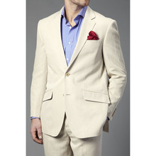 Fashion Tuxedos Custome Homme Terno Slim Fit Masculino Blazer Ivory Notch Lapel Two Buttons Men Suits(Jacket+Pants)