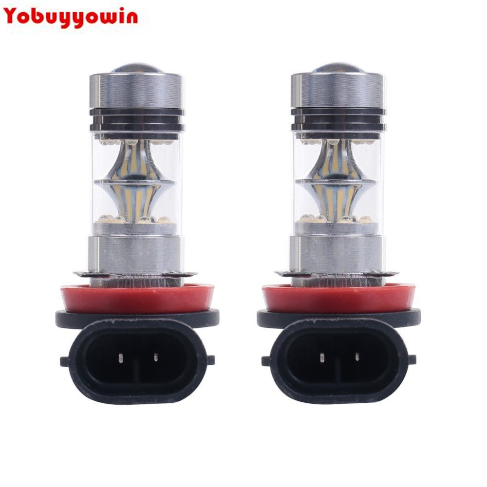 2Pcs <font><b>H8</b></font> H9 H11 H16 6000K 100W <font><b>LED</b></font> 20-SMD <font><b>Cree</b></font> Chips <font><b>Led</b></font> Projector Fog Driving DRL Light Bulbs White 2-pack image