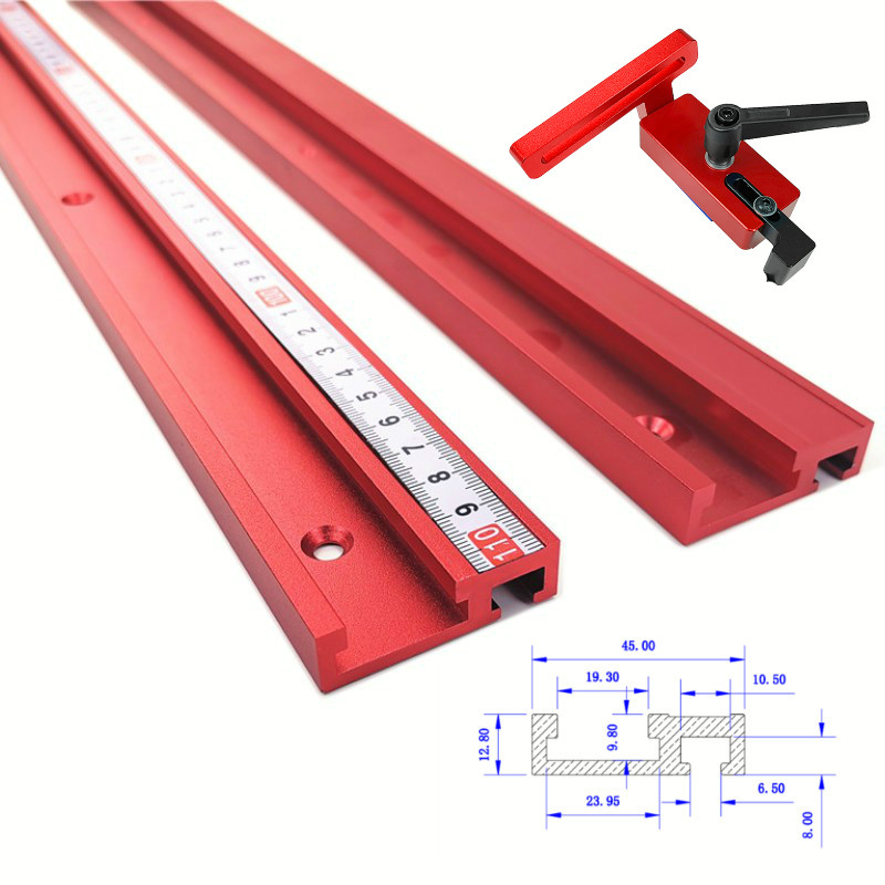 1Pc Chute Aluminium Alloy T-tracks Model 45 T Slot And Standard Miter Track Stop Woodworking Tool For Workbench Router Table
