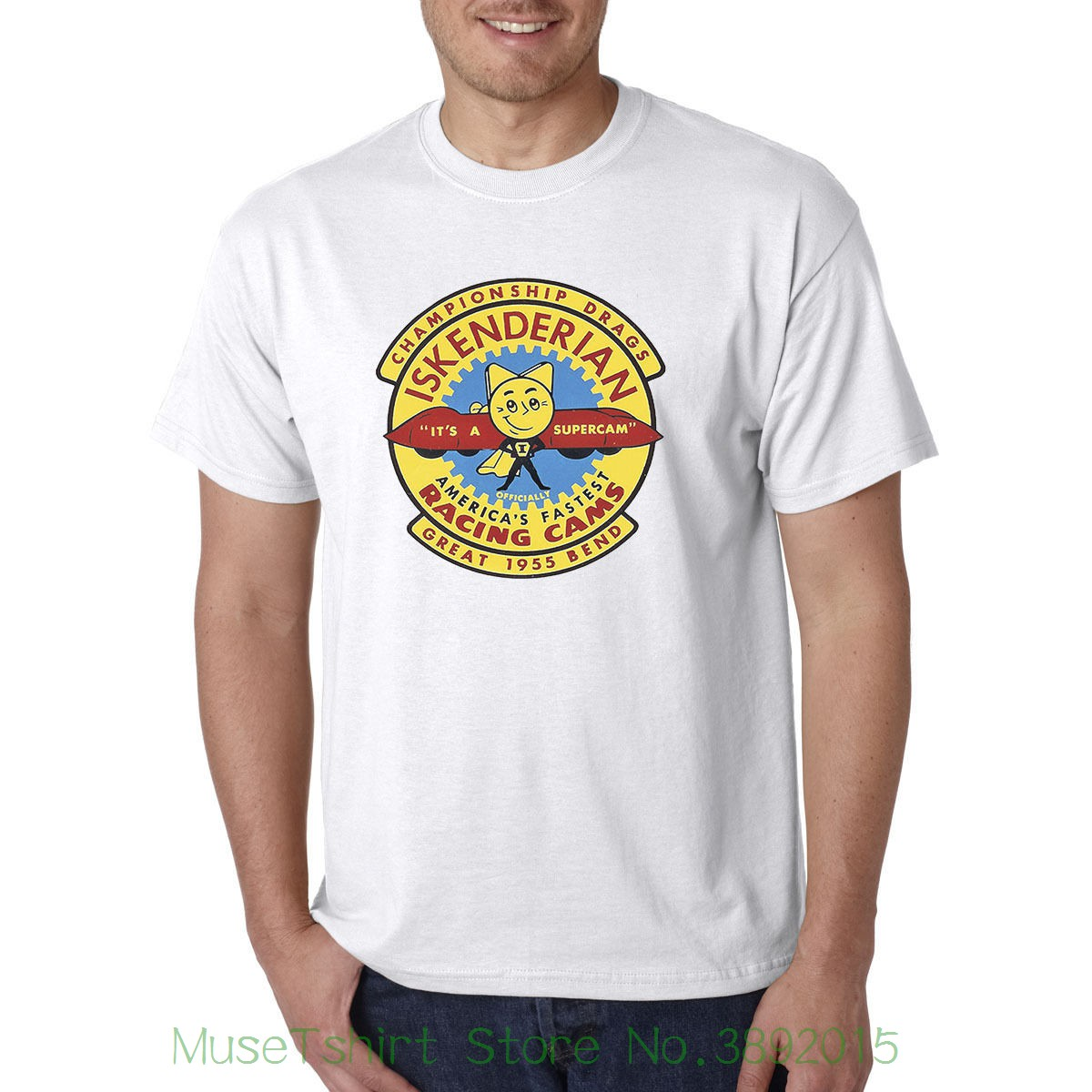 Iskenderian Racer Cams Vintage Decal / Retro Style T-shirt - Hot Rod Biker Tee Round Neck Men Top Tee