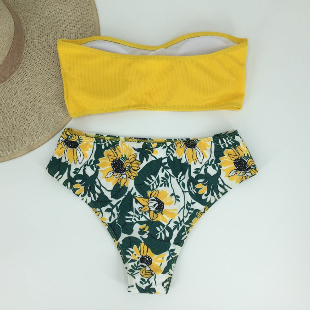 Polyester New Design Minimalism Sexy Women One-should Bandage Bikini Set Brazilian Swimwear Beachwear Solid And  Print Swimsuit