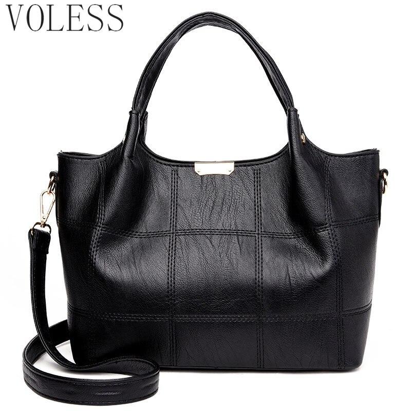 Fashion Plaid Women Handbags High Quality PU Leather Women Top-Handle Bag Large Capacity Black Women Shoulder Crossbody Bags Sac