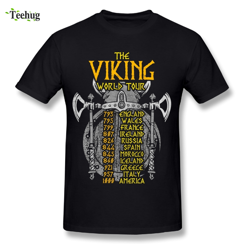 Awesome Male Vikings World Tour Battles of the Past Humorous Joke T Shirt Comfortable Tees image
