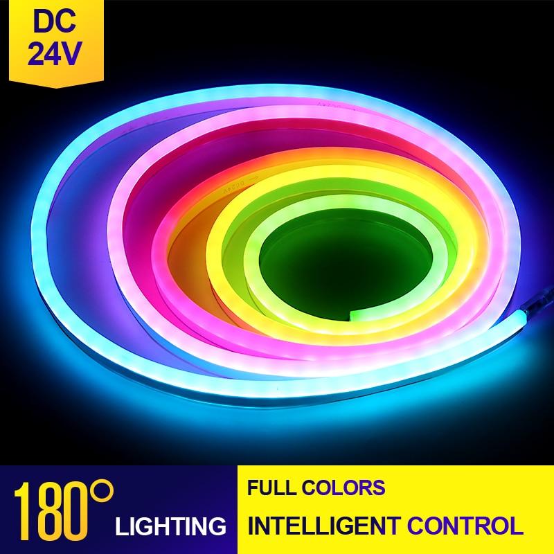 Светодиодная лента WS2812B RGB, неоновая, DC24V, PCB, интеллектуальная, Адресуемая, Пиксельная, WS2812 IC, 1 м, 5 м, 10 м, для бара, клуба, многоцветная, светоди...