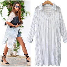 Fashion Women's Long Cotton Linen Blends Striped Full Flare Sleeve Turn Down Collar Loose Casual Shirt