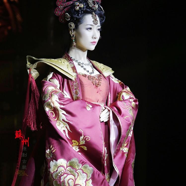 Emperador emperatriz boda pareja trajes rojo completo Bordado hanfu ...