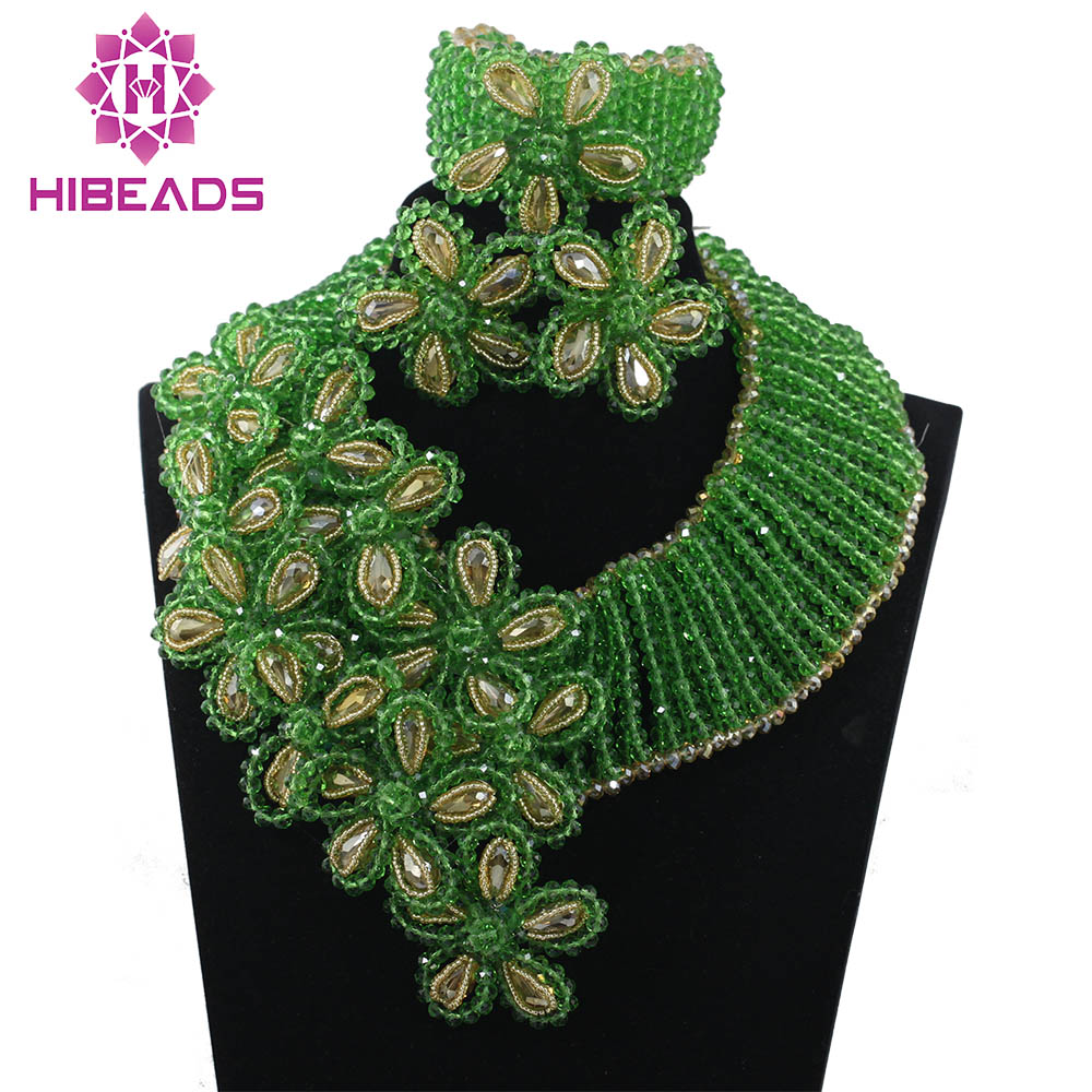 Green Crystal Beads Flower Falls Crystal Bridal Fantastic Nigerian Wedding Jewelry Set Women Jewellery Set Free Shipping ABH253Green Crystal Beads Flower Falls Crystal Bridal Fantastic Nigerian Wedding Jewelry Set Women Jewellery Set Free Shipping ABH253