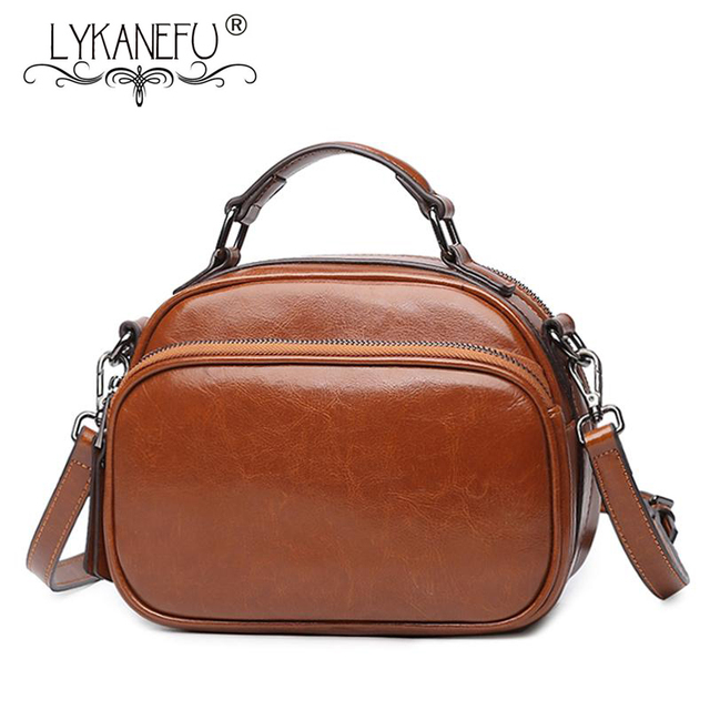 f0081e306f88 LYKANEFU Wax Pu Leather Bags for Women Messenger Bags Vintage Style Tote  Purse Ladies Shoulder Cross body Bags Bolsa Feminina