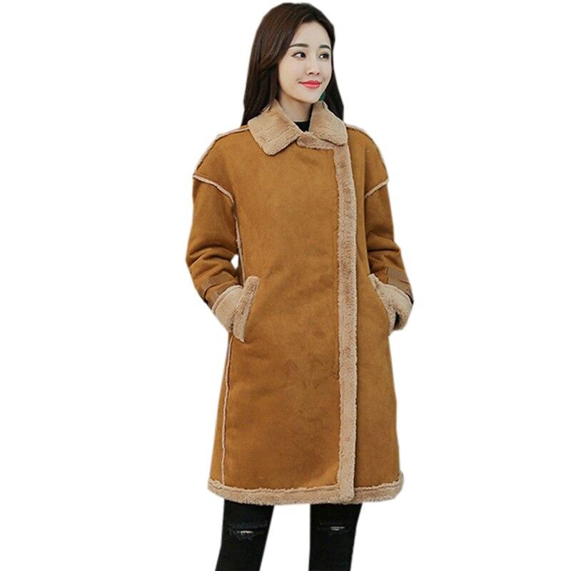 Women Deerskin Coats Autumn Winter Long Thick Lambswool Warm   Parkas   Female Slim Woolen Deerskin Outwear Cotton Jackets FP1479