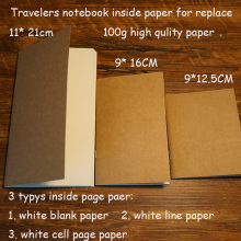 100% high quality travelers notebook fiiler paper 3 types page paper 3 size page paper for travel notebook change school supplie sanmen page 3