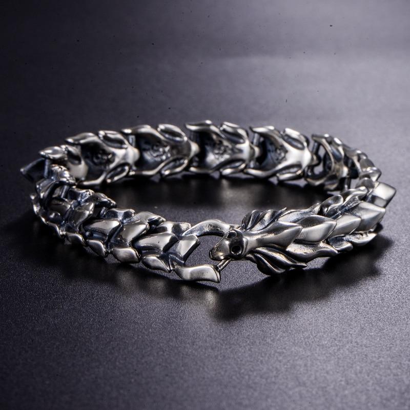 BALMORA Plata de Ley 925 100% auténtica cabeza de dragón escamas pulsera dominadora masculina unos 20cm joyería de moda Vintage JWB59082 - 4
