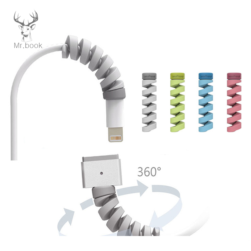 10pcs Cable Protector Bobbin Winder Data Line Case Rope Protection Spring Twine For IPhone Android USB Earphone Cover Desk Set