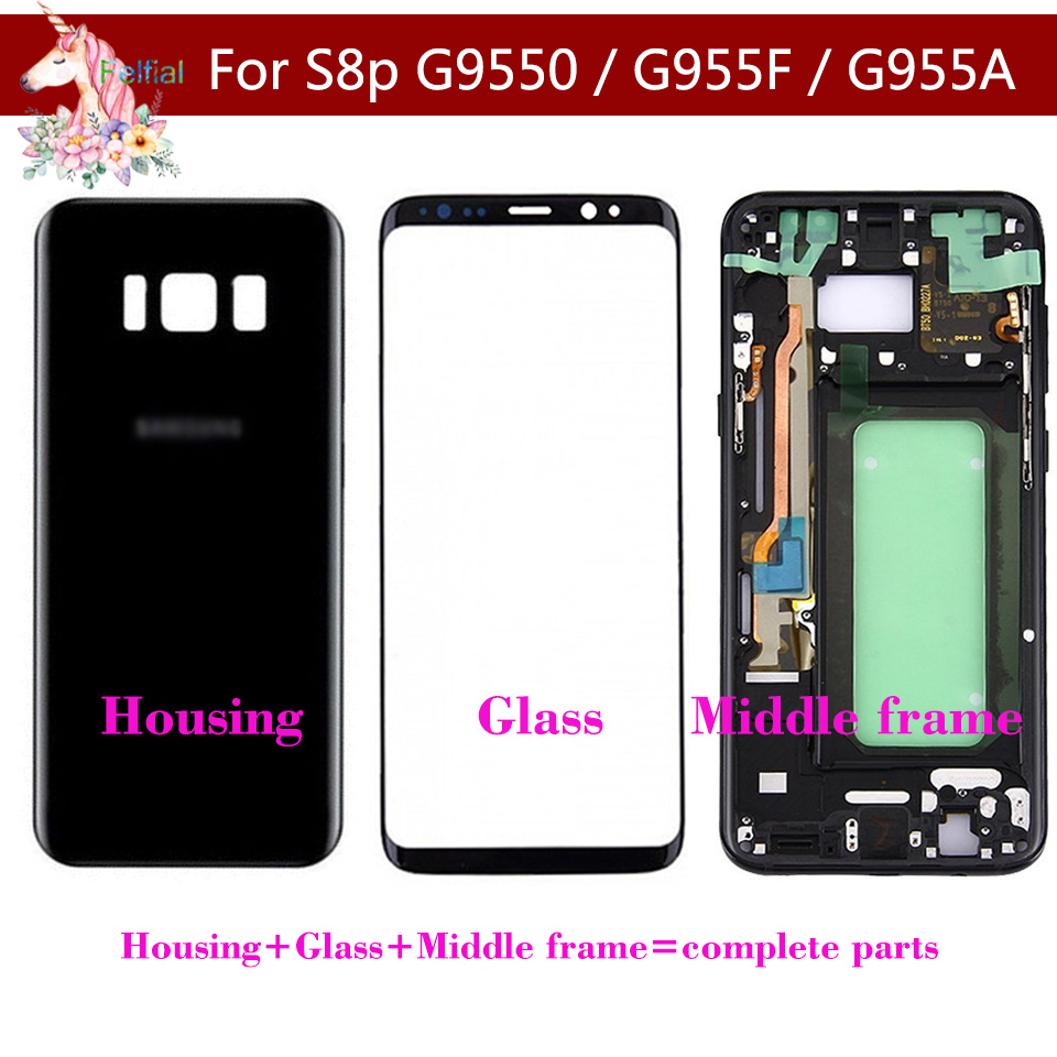For Samsung Galaxy S8 Plus G955 G955F S8+ Battery Housing Case Back Cover + Front Screen Glass + Middle Frame Complete Parts