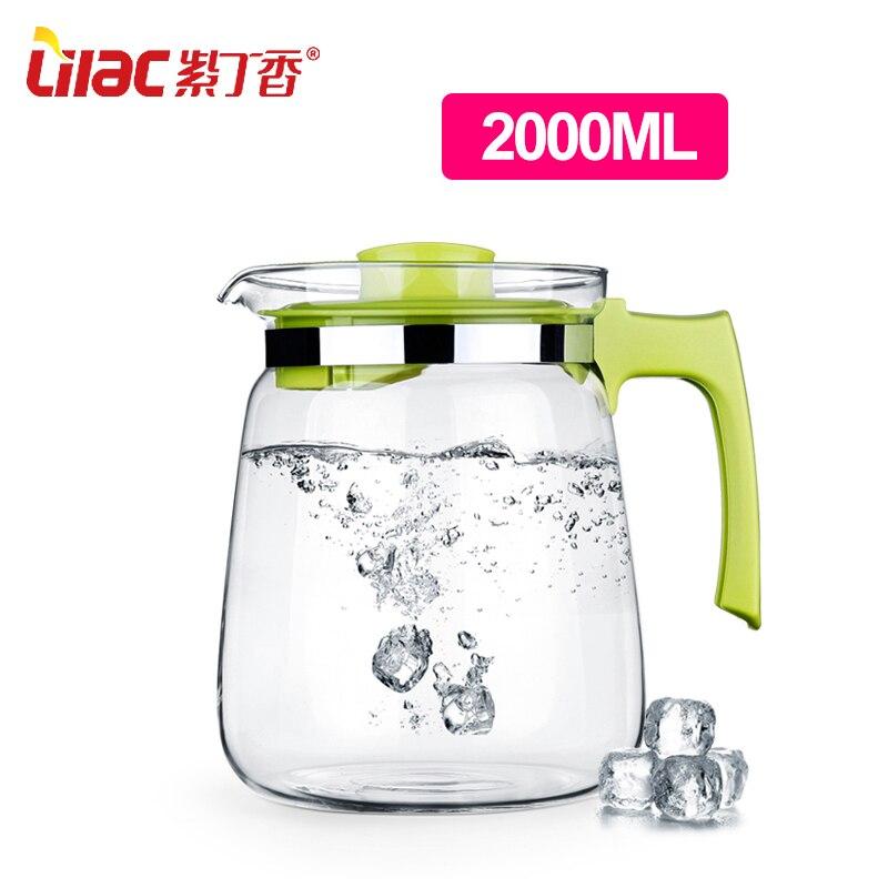High temperature resistant glass cool water kettle high-capacity tea kettle juice pot 2L ly liquid nitrogen super cold resistant kettle 2l