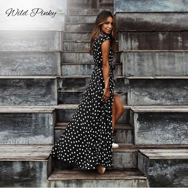 Women Split Short Sleeve Summer Casual Dress
