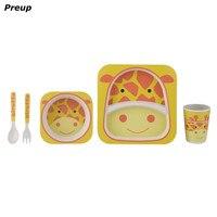 PREUP 5 개 유아 아기 세트 BPA 그릇 접시 포크 숟가락 병 식기 키트 아기 식기 세트
