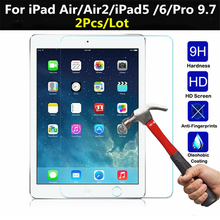2pcs Tempered Glass For Apple iPad Air 2 Air 1 Screen Protector for iPad 2017 iPad 5 6 Pro 9.7 Tempered Glass Screen Protector full cover matte frosted tempered glass for apple ipad 5 6 ipad 2017 2018 ipad air 1 2 mini 4 9 7 tablet screen protector film