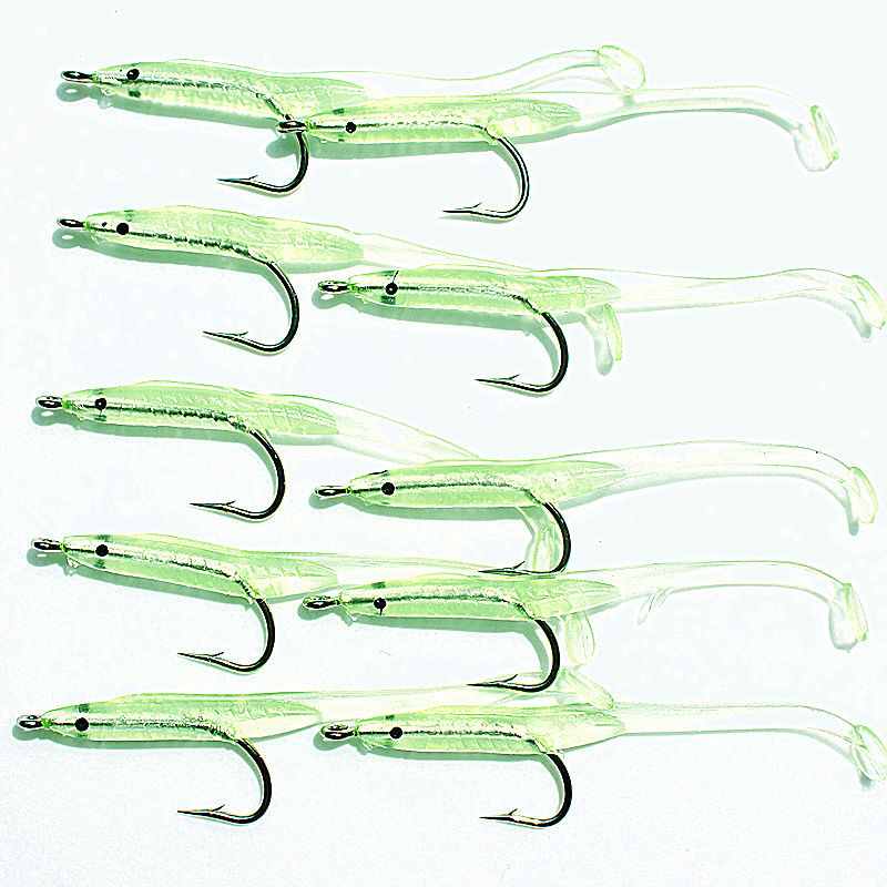 KKWEZVA 10pcs / lot 6.8cm 1g Luminous Soft Lures for Fishing, 2bags Soft Bait Tiddler Bait With Hook Fishing Lures