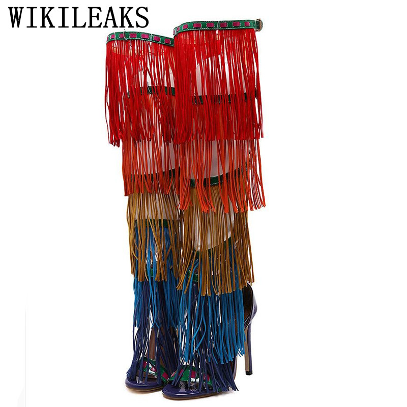 High Quality Sandals Women High Heel Peep Toe Pumps Over the Knee Gladiator Boots Colorful Tassels Cool Boots dance party shoes яйцо трансформер mystery egg с фигуркой звездные войны в асс
