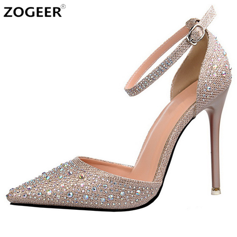 Luxury Crystal Women Pumps High Heels Sexy Ankle Strap Mary Janes OL Shoes Woman Pointed Toe Zapatos Mujer Ladies Wedding Shoes Pakistan