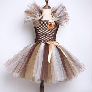 Image 3 - Vestido con tutú de Melena y León salvaje para niñas tutú de flores marrones para fiestas de cumpleaños, Cosplay de Halloween, disfraces de animales de 2 a 12 años