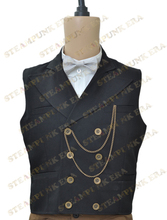 Free Shipping Halloween Victorian Steampunk Costume Black Double Breasted Waistcoat
