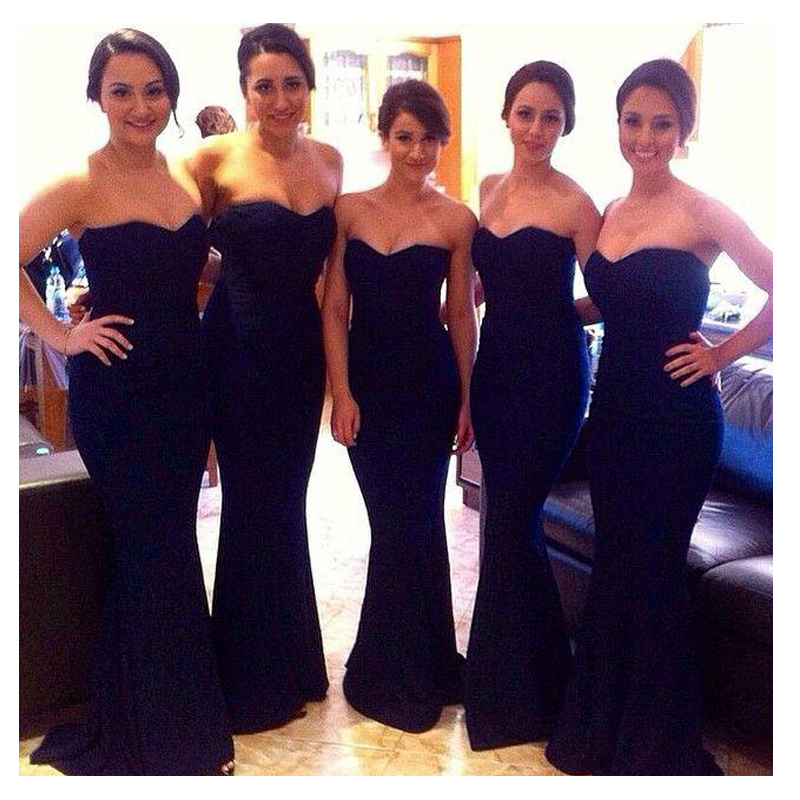 Popular Long Black Satin Bridesmaid Dresses with Sash-Buy Cheap ...