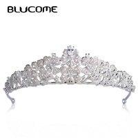 Blucome Luxury Zircons Flower Shape Hair Accessories Wedding Tiaras For Bridals Rhinestone Copper Hairwear Crown Head