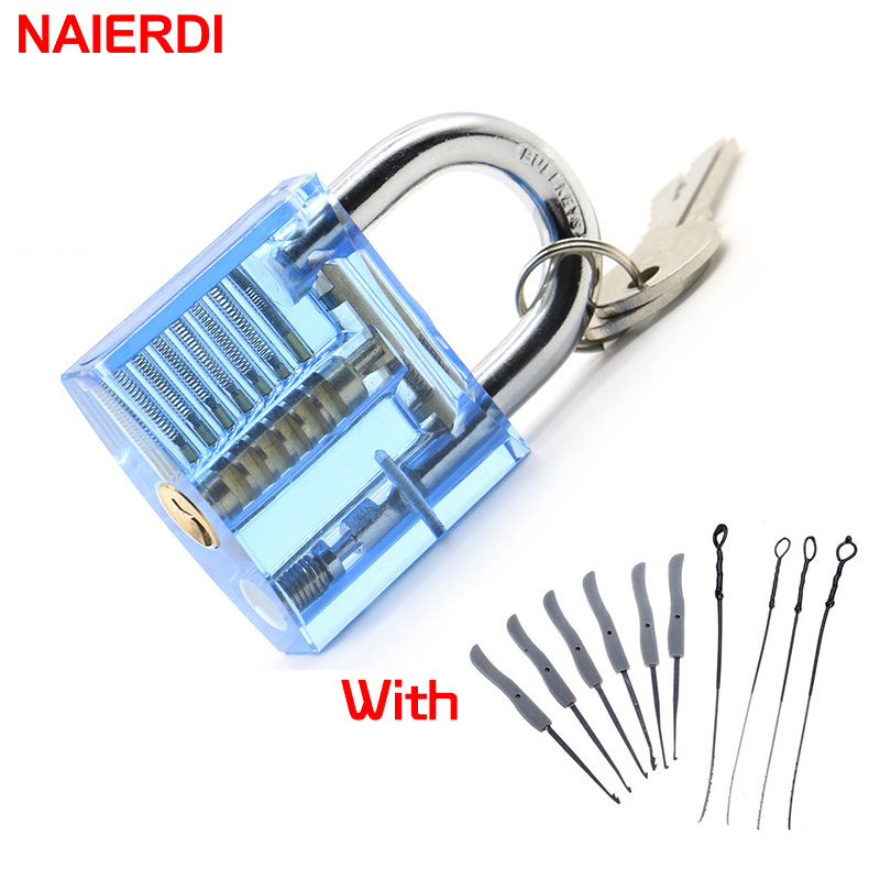 цена на NAIERDI Locksmith Hand Tools Lock Pick Set Transparent Visible Cutaway Practice Padlock With Broken Key Removing Hooks Hardware