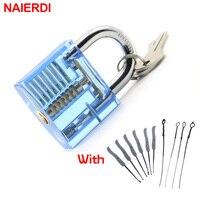 NAIERDI Schlosser Hand Werkzeuge Liefert Lock Pick Set Transparent Sichtbar Praxis Vorhängeschloss Mit Gebrochenen Schlüssel Entfernen Haken Hardware
