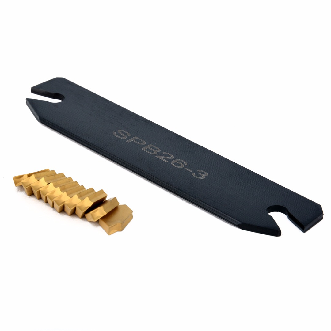 SPB26-3 Parting Grooving Cut-Off Blade Tool Holder 26mm + 10pcs GTN-3 SP300 Gold Cutter Carbide Inserts Mayitr Turning Tools