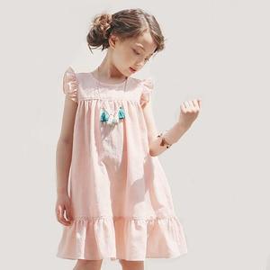 Летнее платье принцессы для девочек-подростков, милые платья розового, белого цветов для девочек, дизайнерская детская одежда с рукавами с ...
