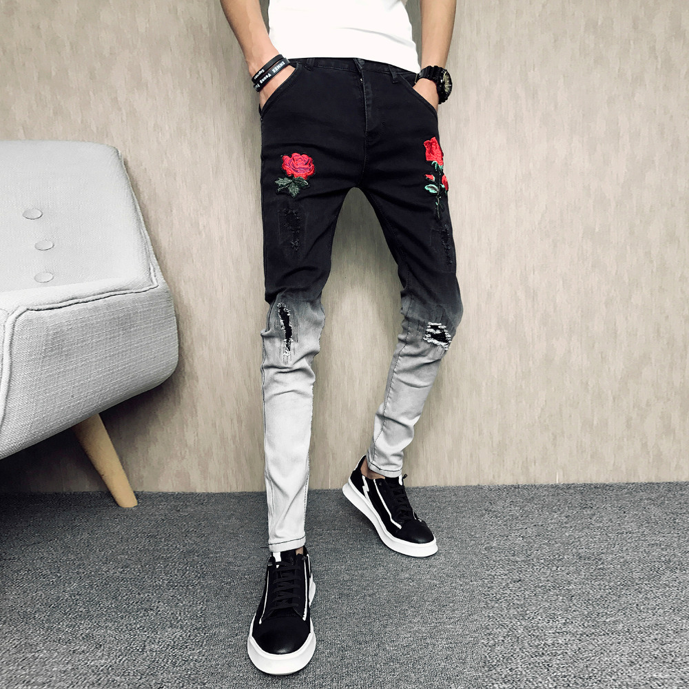 Brand Summer Jeans Men Fashion 2019 Personality Patchwork Color Ripped Jeans Slim Fit Casual Embroidery Streetwear Denim Pants