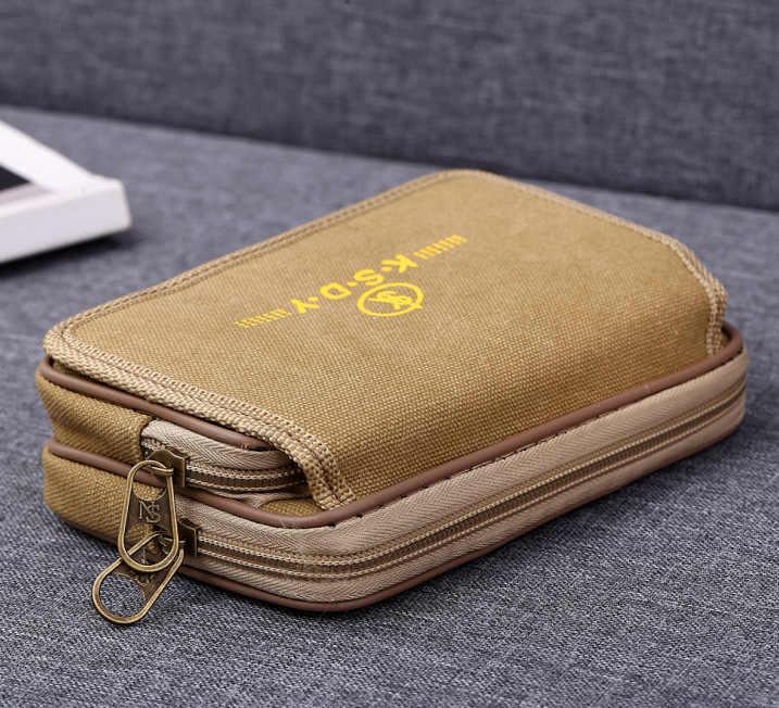Çift fermuarlı erkekler fanny paketi cep telefonu çantası siyah kahverengi tuval bozuk para cüzdanı çanta cep kumaşı çantaları bel paketleri erkek cüzdan