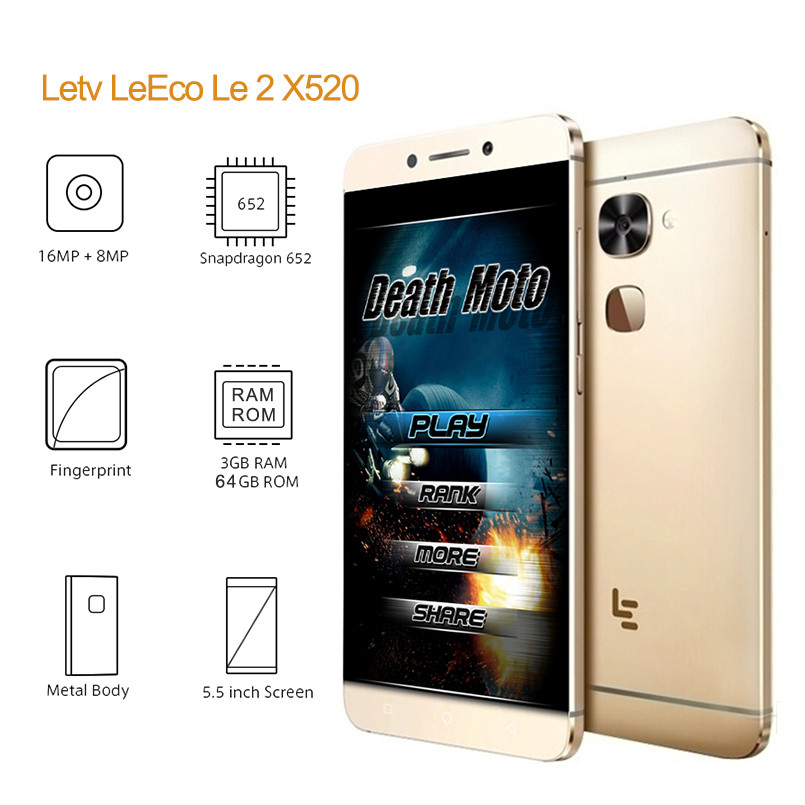 "Original 5.5"" Letv LeEco Le 2 X520 Cell Phone Snapdragon 652 Octa Core Mobile Phone 3GB 32GB 1920x1080 16MP Android Fingerprint"