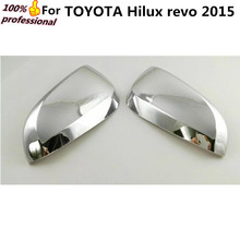 Car ABS chrome rear view Rearview Side Mirror Strip Cover sticks trim frame lamp hoods panel 2pcs for Toyota Hilux Revo 2015