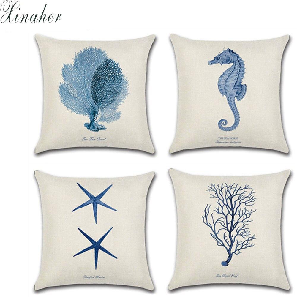 Mediterranean Style Cushion Cover Marine Ocean Sea Starfish Coral Pillowcase Linen Cotton Throw Pillow Cover 45x45cm Home Decor