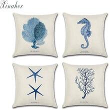 Housse de coussin Style méditerranéen, taie d'oreiller en coton, linge de maison, océan, mer, étoile de mer, corail, 45x45cm
