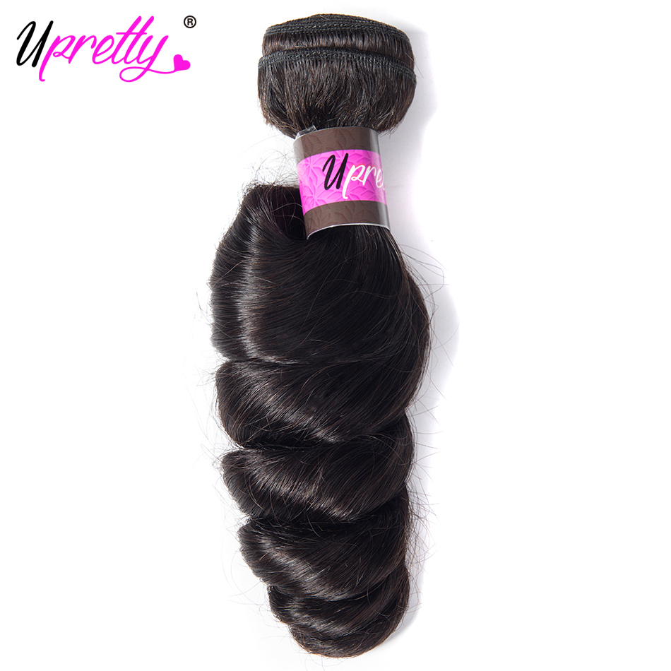 Upretty Hair Malaysian Hair 3 Bundles With Closure Loose Wave Bundles & Closure Free Part Remy Human Hair Bundles With Closure