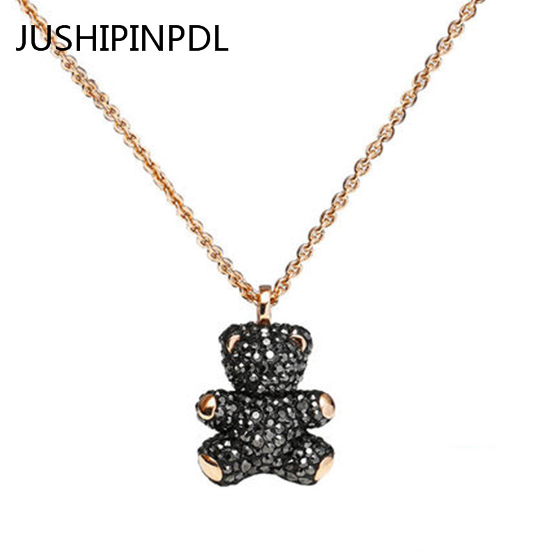 Swan100%925 sterling silver 1:1 rose gold teddy bear Mosaic black crystal necklace pendant jewelry fashion women present