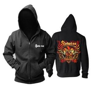 Image 1 - Bloodhoof Sabaton heavy metal czarny power metalowy zamek błyskawiczny z kapturem w rozmiarze azjatyckim